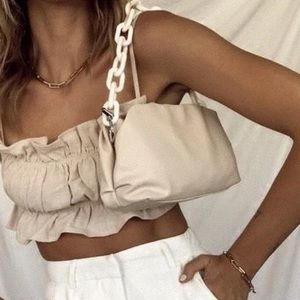 Handbags - Ivory chunky chain purse USED ONCE